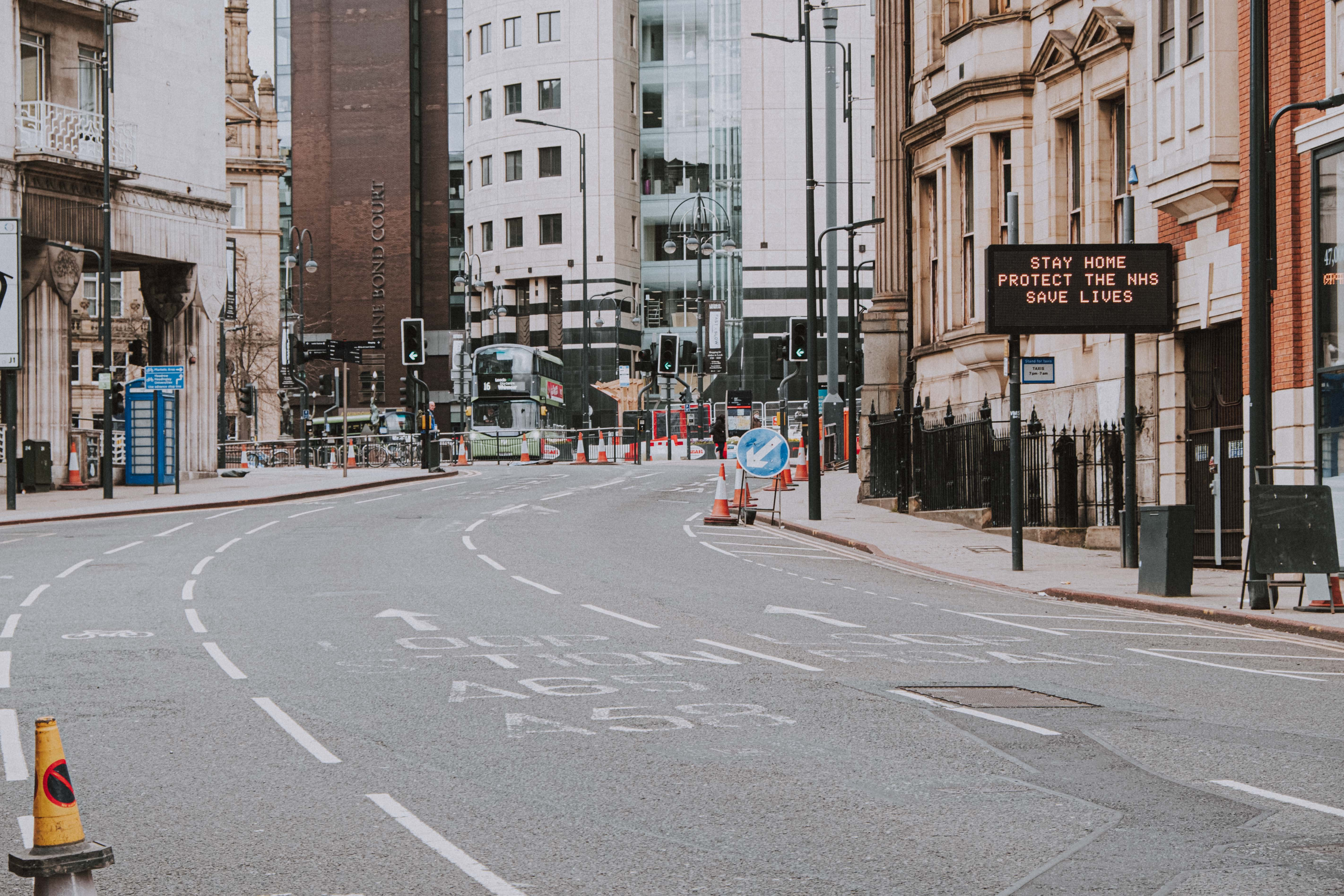 Empty city street during Covid-19 pandemic